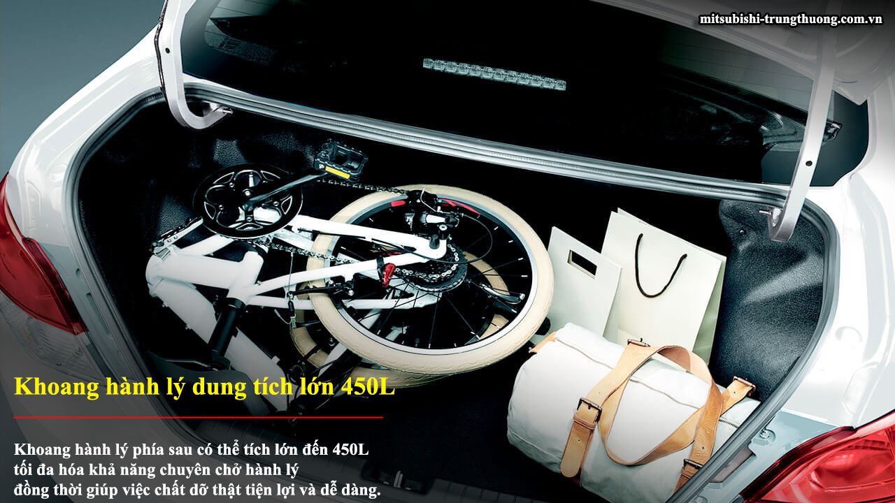 Mitsubishi Attrage MT STD có khoang hành lý dung tích lớn 450L