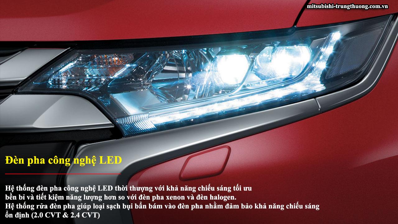 Mitsubishi Outlander 1 cầu 2.0 CVT trang bị đèn pha công nghệ LED