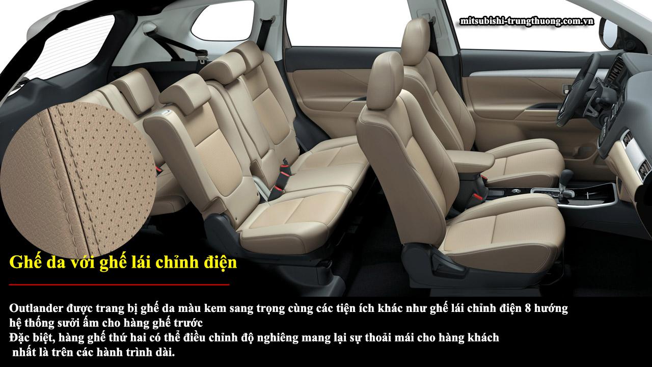 Mitsubishi Outlander 1 cầu 2.0 CVT có ghế da với ghế lái chỉnh điện