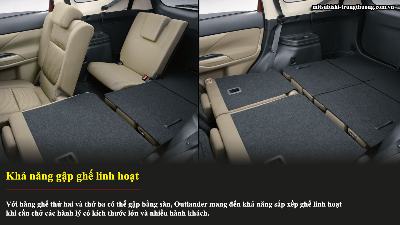 Mitsubishi Outlander 1 cầu 2.0 CVT có khả năng gập ghế linh hoạt