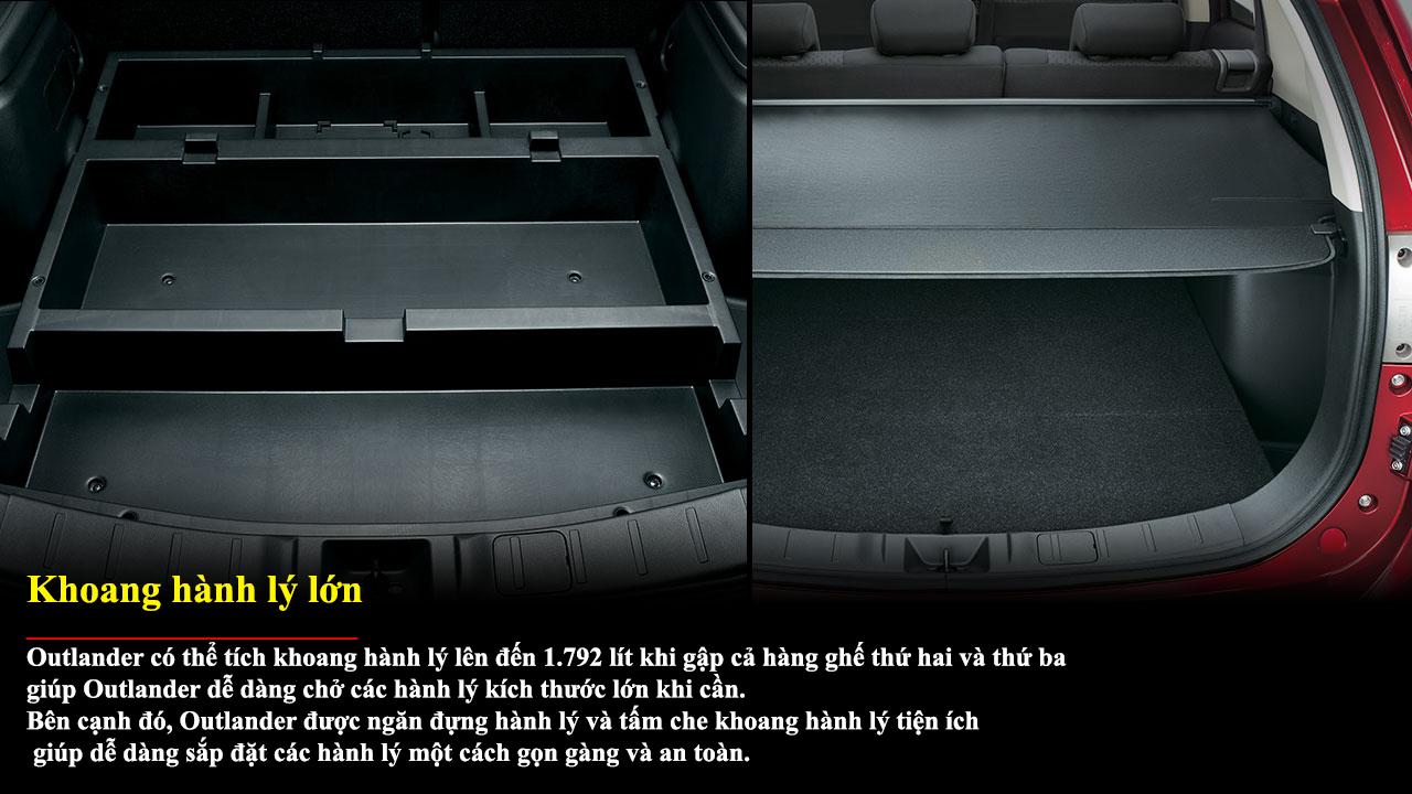 Mitsubishi Outlander 1 cầu 2.0 CVT có khoang hành lý lớn