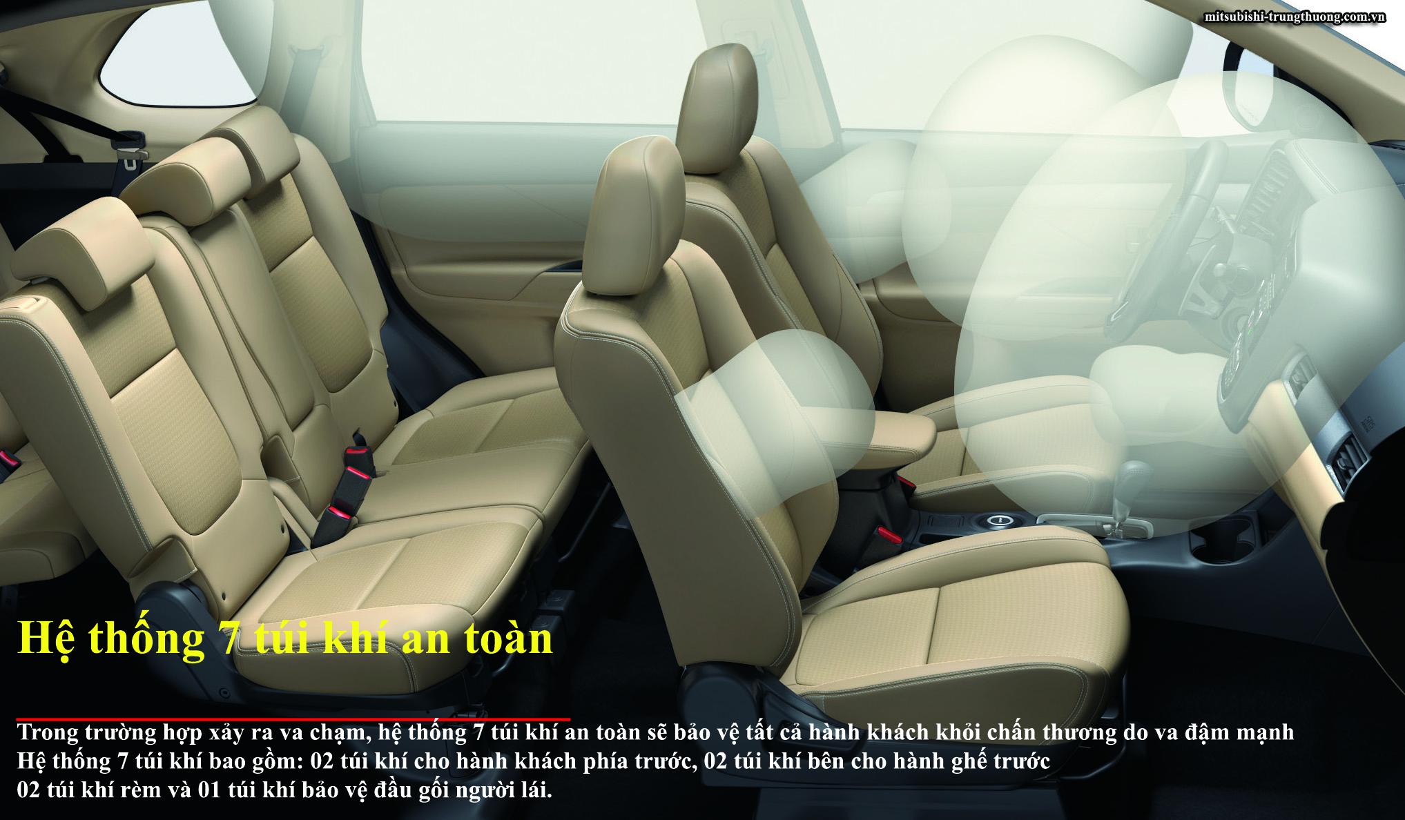 Mitsubishi Outlander 1 cầu 2.0 STD trang bị 7 túi khí an toàn