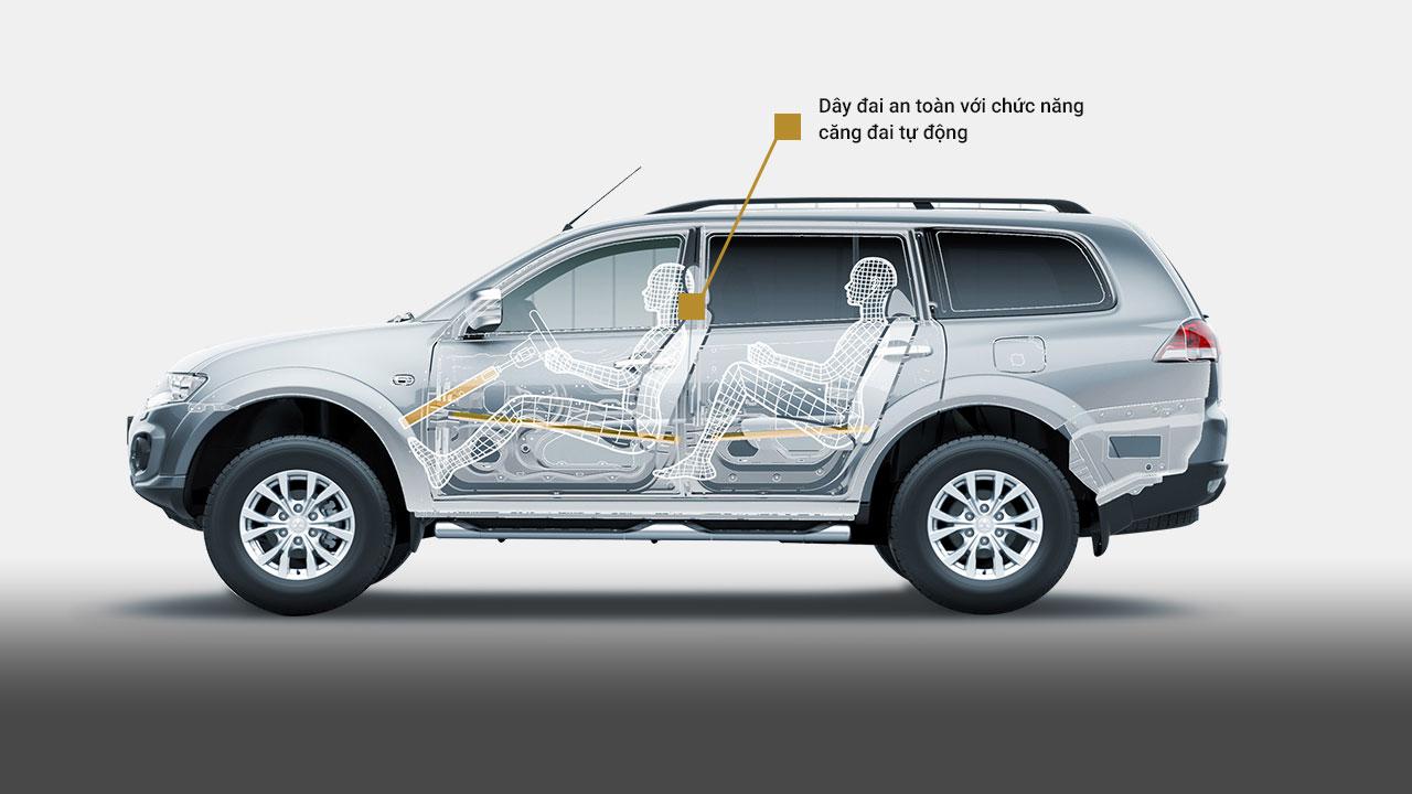 Xe Mitsubishi Pajero Sport máy xăng số tự động có hệ thống căng dây đai tự động