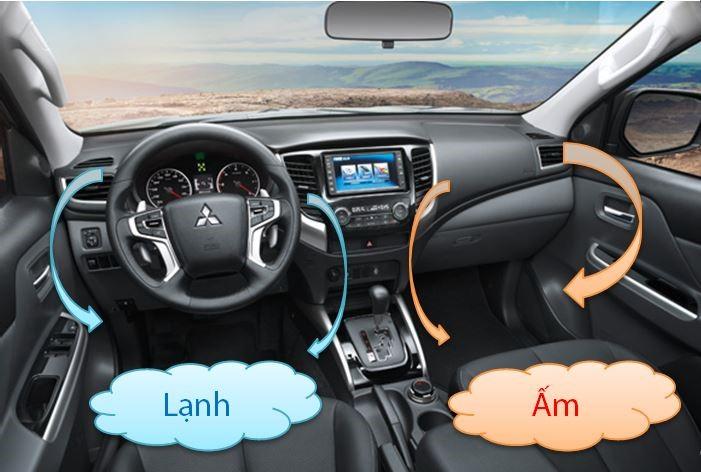 Mitsubishi Triton MIVEC 2 cầu chế độ điều hòa lạnh và ấm