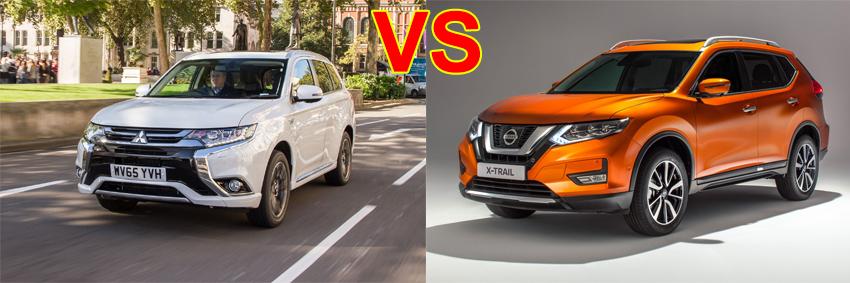 so sánh ngoại thất Mitsubishi Outlander 2017 và Nissan X Trail