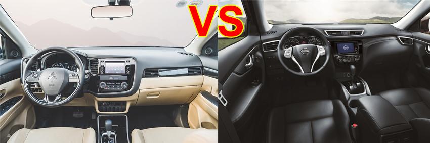so sánh nội thất Mitsubishi Outlander 2017 và Nissan X Trail