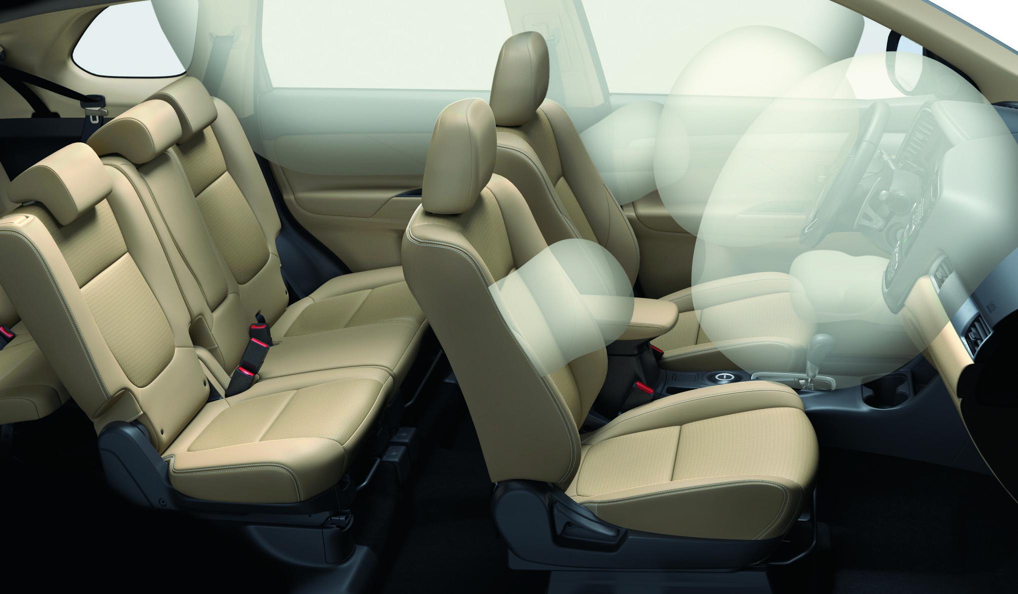 Mitsubishi outlander 2 cầu 7 chỗ 2.4 cvt được trang bị với 7 túi khí an toàn