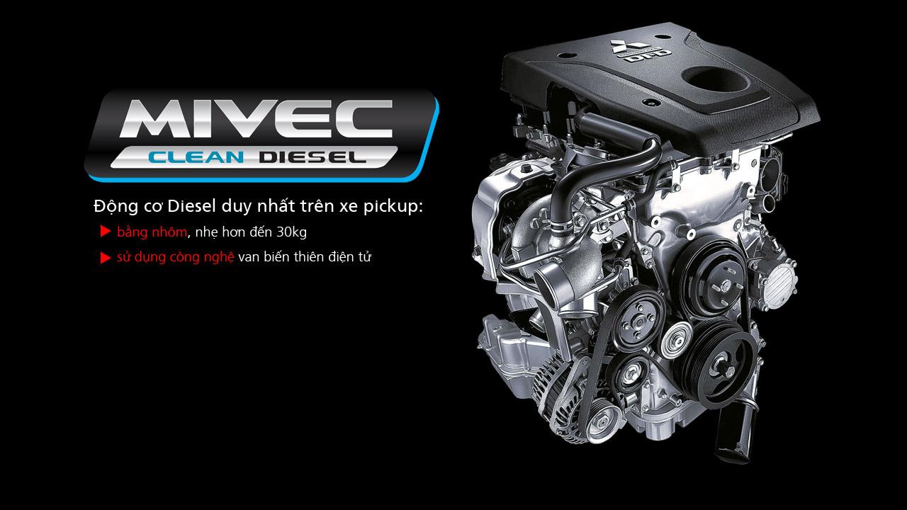 Mitsubishi triton số tự động 2 cầu trang bị Động cơ Diesel MIVEC 2.4L-181PS